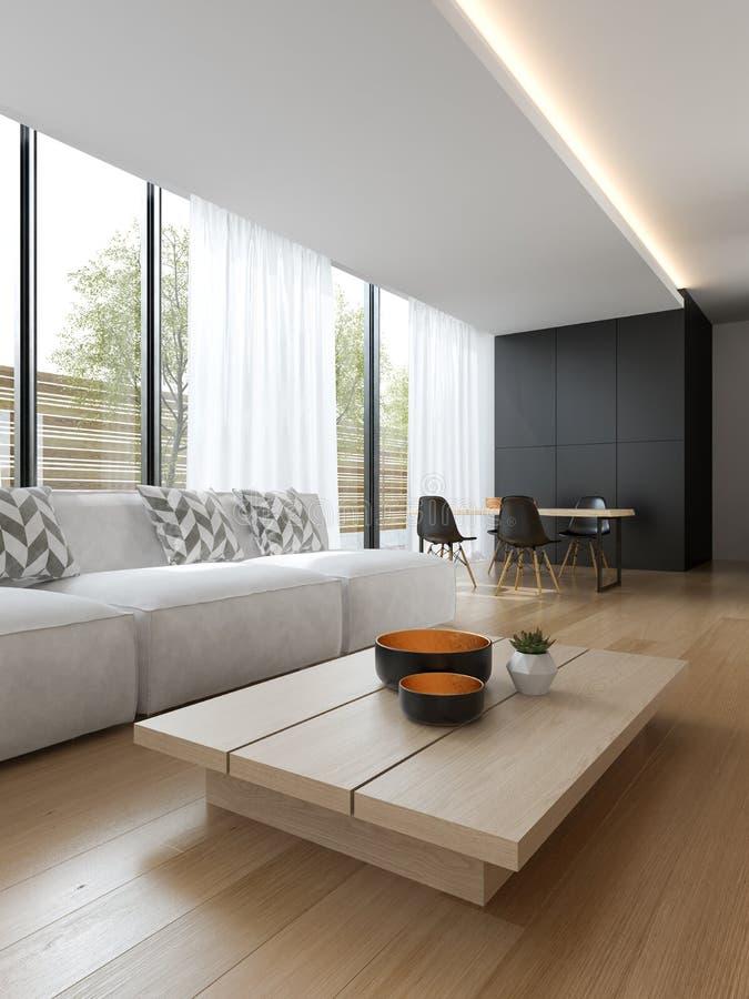 Interior de la sala de estar moderna con la representación del sofá y de los muebles 3D foto de archivo libre de regalías