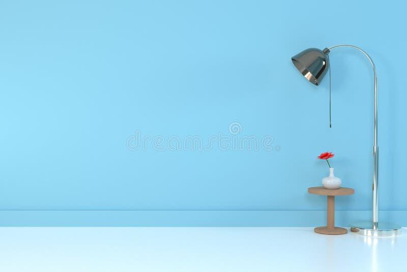 Interior de la sala de estar sof? y almohada suaves cerca de la representaci?n suave de la pared 3D del color de la l?mpara - eje libre illustration