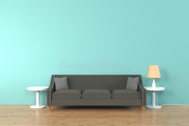 Interior de la sala de estar sof? y almohada suaves cerca de la representaci?n suave de la pared 3D del color de la l?mpara - eje imagen de archivo