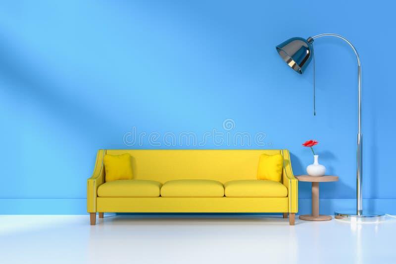 Interior de la sala de estar sof? y almohada suaves cerca de la representaci?n suave de la pared 3D del color de la l?mpara - eje imagen de archivo libre de regalías