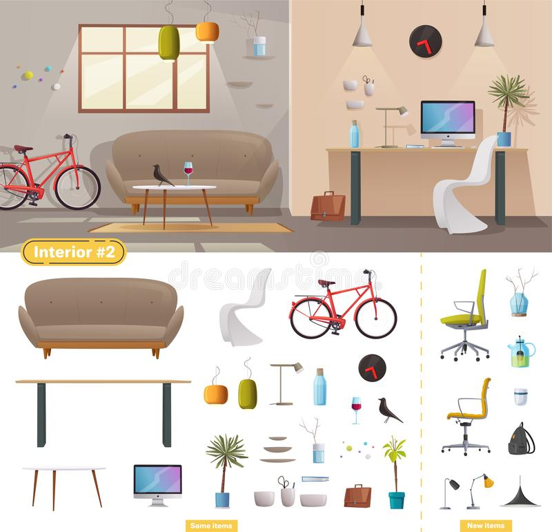 Interior de la sala de estar y de la oficina Escandinavo moderno del apartamento o diseño del desván Ilustración del vector de la libre illustration