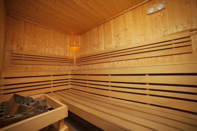 Interior de la sauna imagenes de archivo