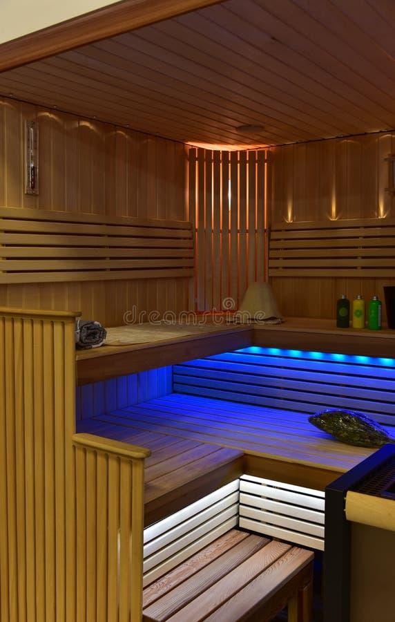 Interior de la sauna imágenes de archivo libres de regalías