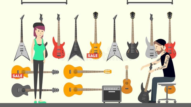 Interior de la tienda de la música libre illustration