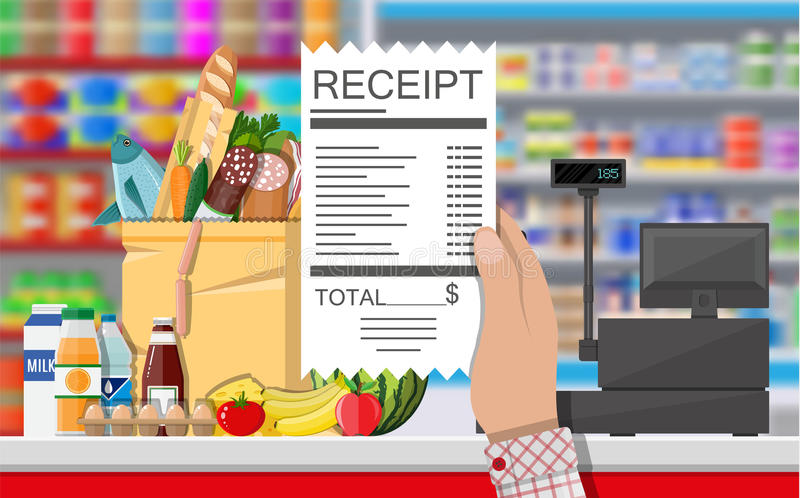 Interior de la tienda del supermercado con las mercancías ilustración del vector