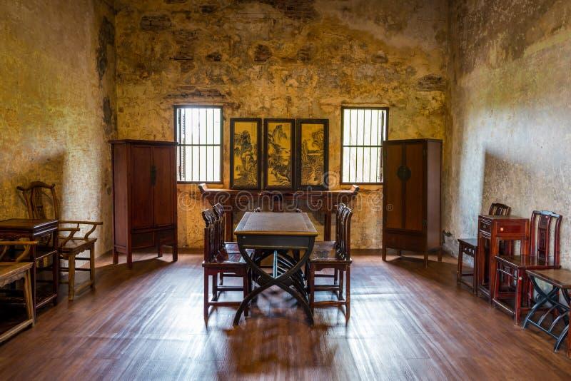 Interior de Lhong 1919 com estilo chinês da sala imagem de stock royalty free