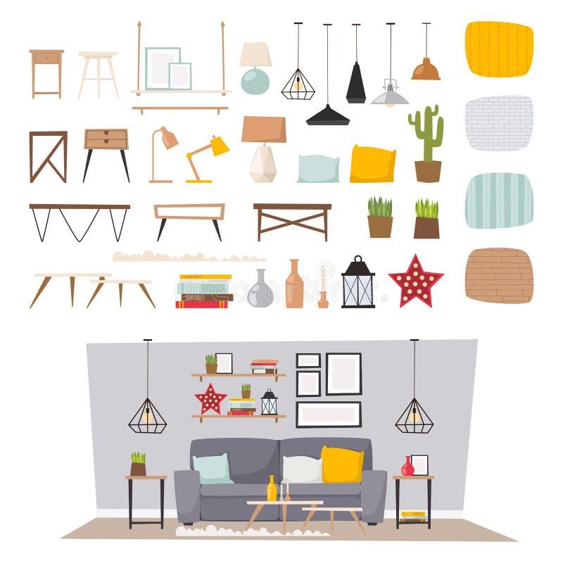 Interior de los muebles y ejemplo plano determinado del vector de la decoración del icono casero del concepto libre illustration