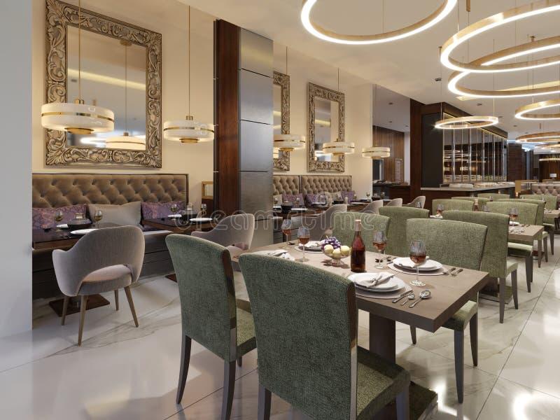 Interior de lujo acogedor del restaurante, lugar de cena moderno cómodo, fondo contemporáneo del diseño stock de ilustración
