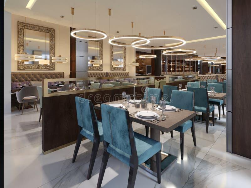 Interior de lujo acogedor del restaurante, lugar de cena moderno cómodo, fondo contemporáneo del diseño libre illustration