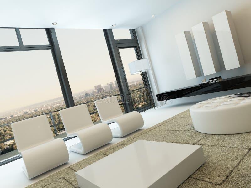 Interior de lujo de la sala de estar con las ventanas enormes fotos de archivo