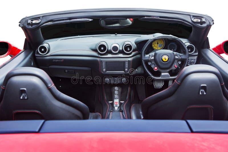 Interior de lujo del coche de Ferrari fotos de archivo libres de regalías