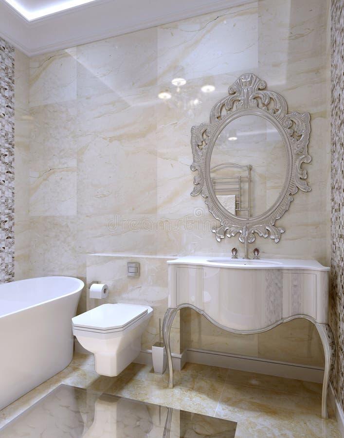 Interior de lujo del cuarto de baño stock de ilustración