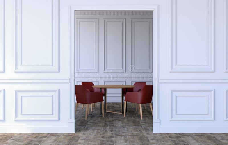 Interior de lujo del sitio en dise?o cl?sico moderno con la mesa de comedor y las sillas modernas, representaci?n 3D stock de ilustración