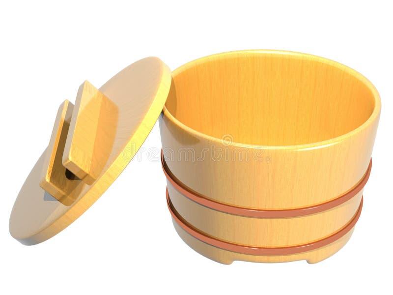 Interior de madeira aberto do recipiente japonês do arroz foto de stock royalty free