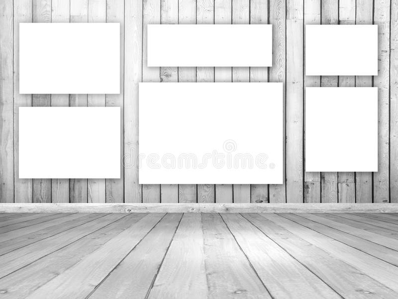 interior de madeira da sala 3D com lonas de suspensão vazias ilustração royalty free
