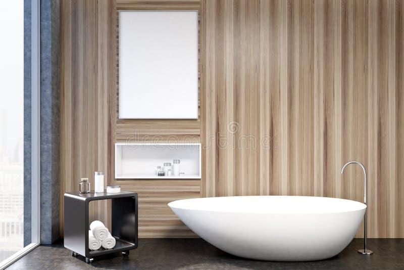 Interior de madeira do banheiro, close up da ameia ilustração do vetor