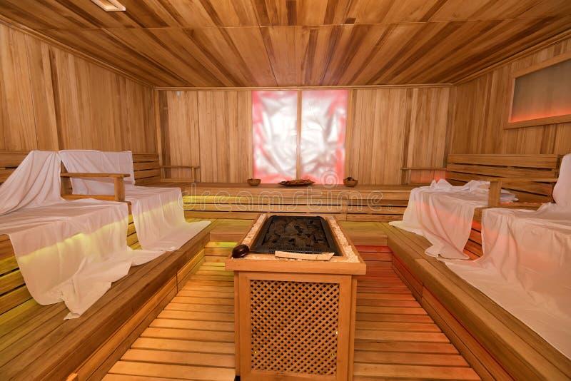 Interior de madeira vazio da sauna fotos de stock