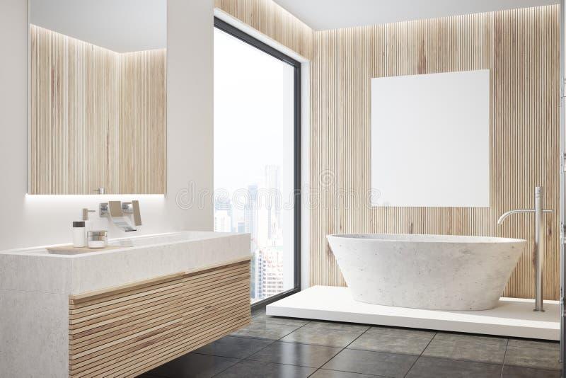 Interior de madera del cuarto de baño, tina, lado del cartel libre illustration