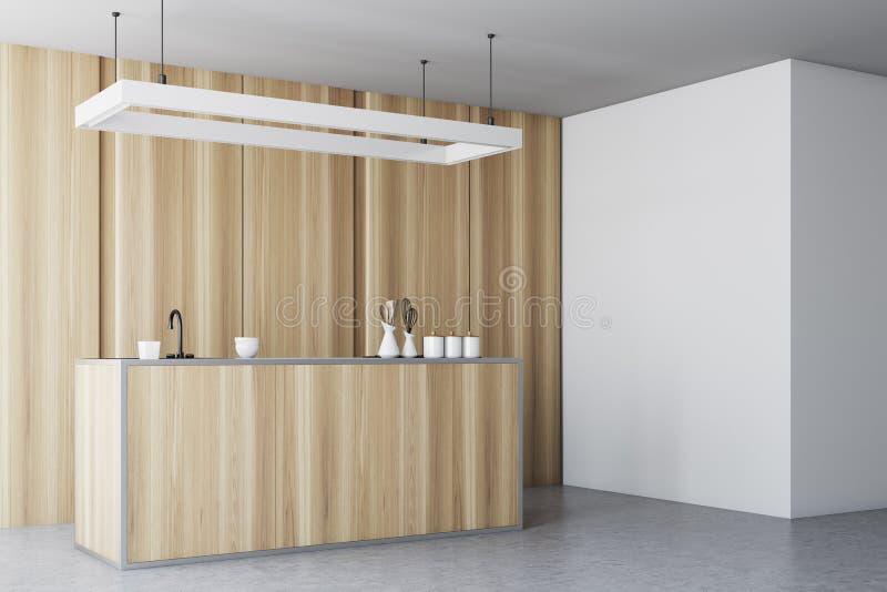 Interior de madera de la cocina, encimera, lado de la pared libre illustration