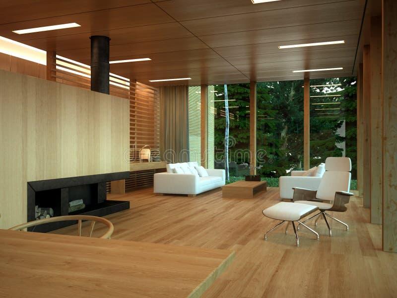 Interior de madera moderno de la sala de estar stock de ilustración