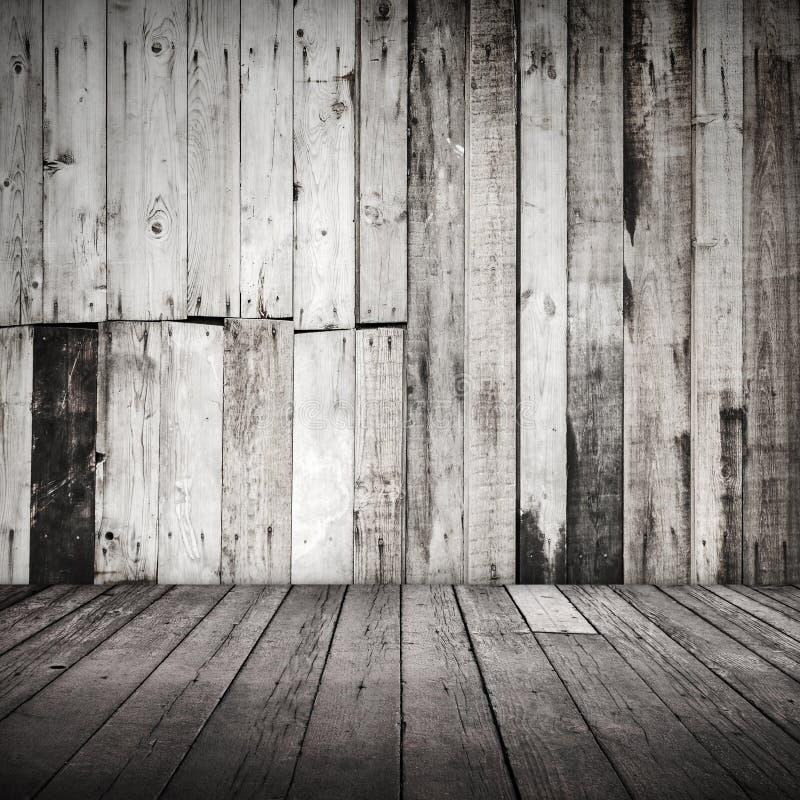 Interior de madera sucio blanco vacío foto de archivo