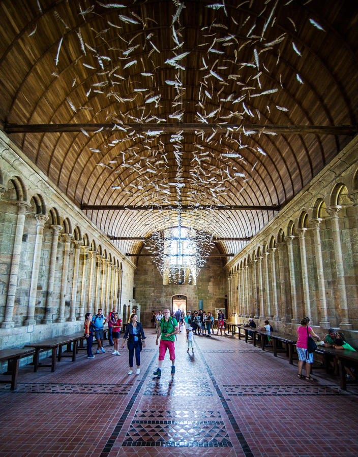 Interior de Mont Saint Michel Abbey fotos de archivo libres de regalías
