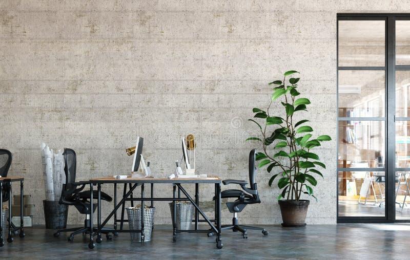 Interior de oficina en loft de estilo industrial ilustración del vector