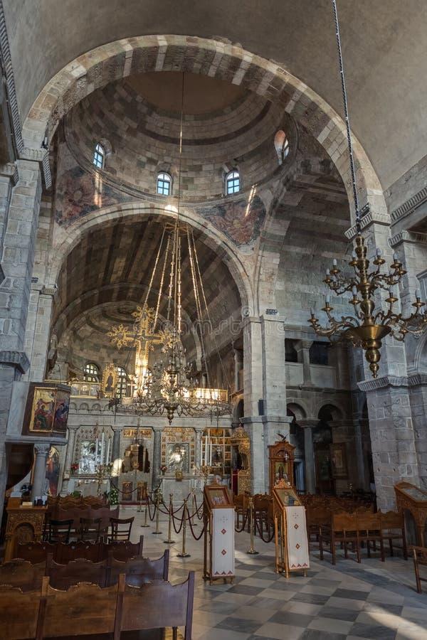 Interior de Panagia Ekatontapyliani o iglesia de 100 puertas foto de archivo libre de regalías