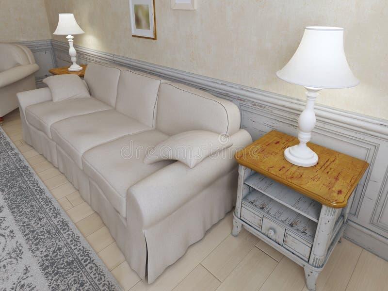 Interior de Provence con el sofá stock de ilustración