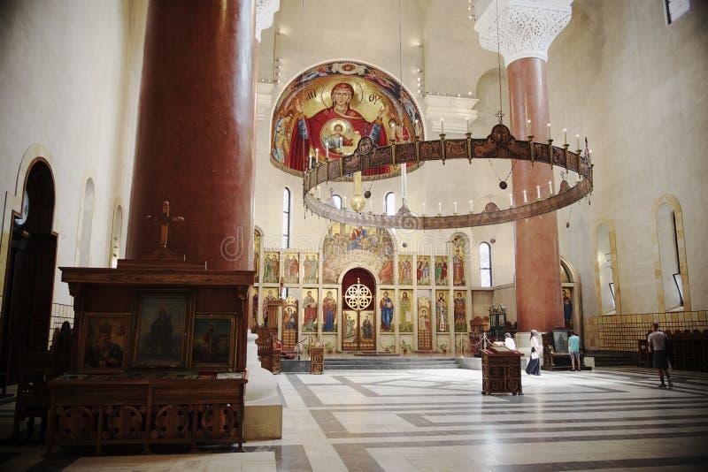 Interior de Saint Mark Orthodox Church In Belgrade, Sérvia imagem de stock