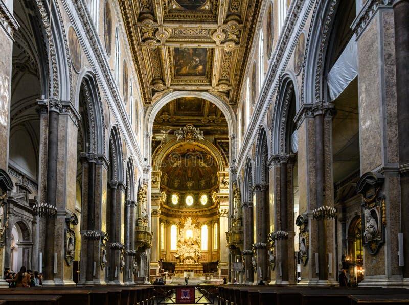 Interior de San Gennaro Cathedral em Nápoles, Itália fotos de stock