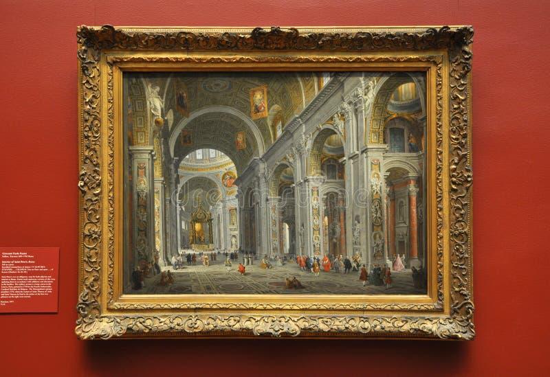 Interior de San Pedro, Roma, por Panini fotografía de archivo