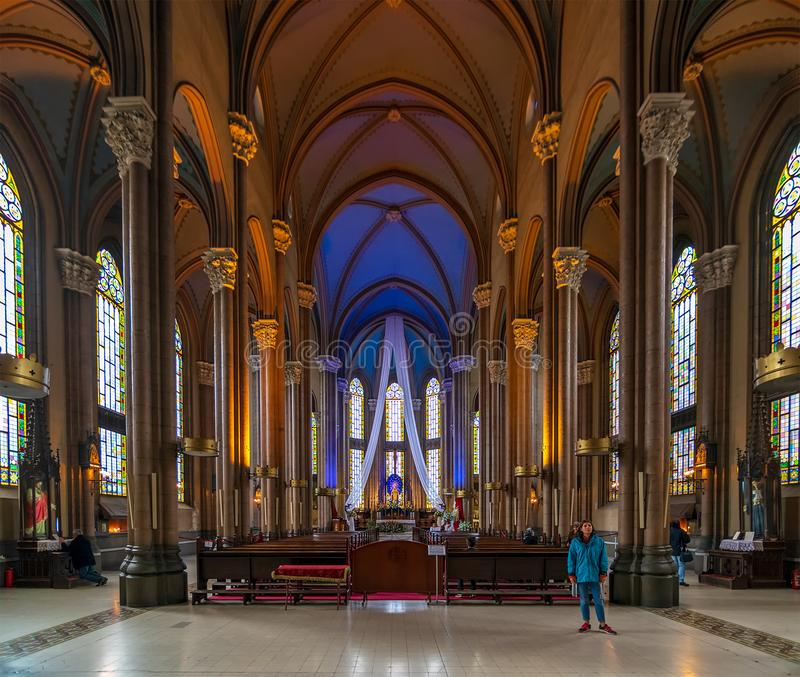 Interior de St Anthony da igreja de Pádua, Istambul, Turquia fotos de stock royalty free