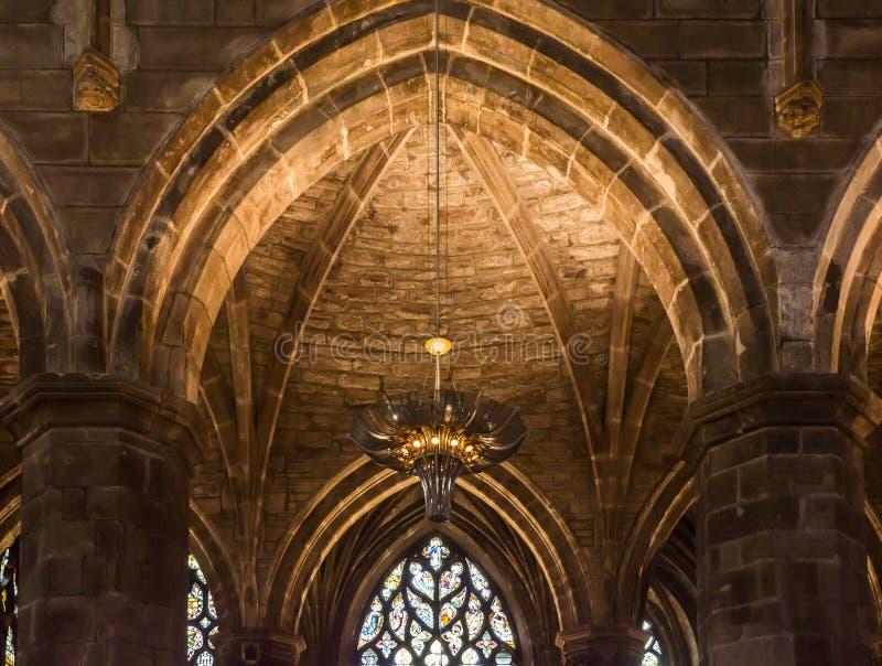Interior de St Giles Cathedral, Edimburgo, detalhe imagem de stock