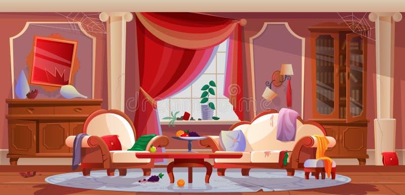 Interior de sujo, sala de visitas, com mobília danificada, artigos interiores ilustração stock