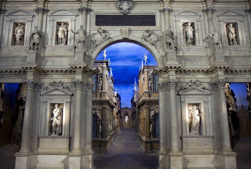 Interior de Teatro Olimpico em Vicenza fotografia de stock