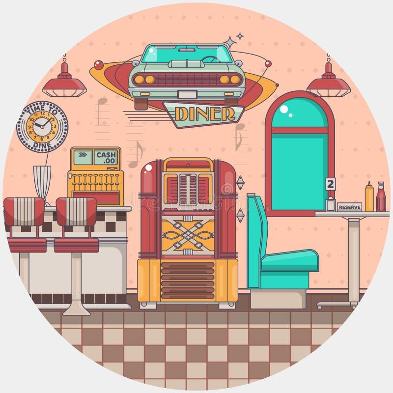 Interior de um jukebox velho do restaurante americano velho do jantar em uma barra ilustração do vetor