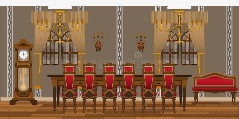 Interior de um restaurante, de um estudo ou de uma sala de visitas com as grandes tabelas e cadeiras ilustração royalty free