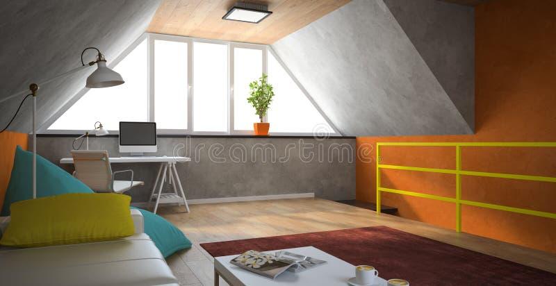 Interior de um sótão moderno com paredes alaranjadas ilustração stock