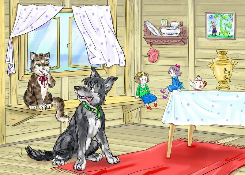 Interior de uma cabine de madeira ilustração royalty free