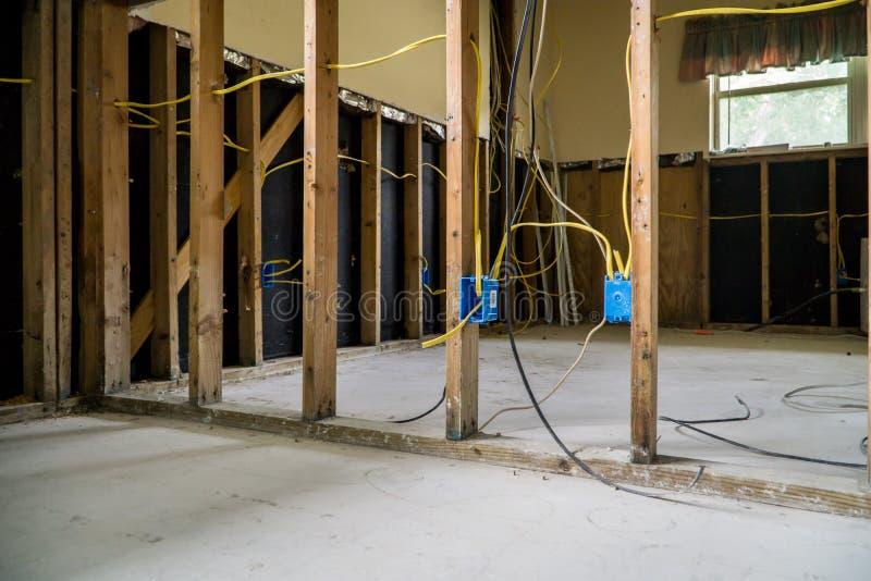 Interior de uma casa inundada de Houston imagens de stock royalty free