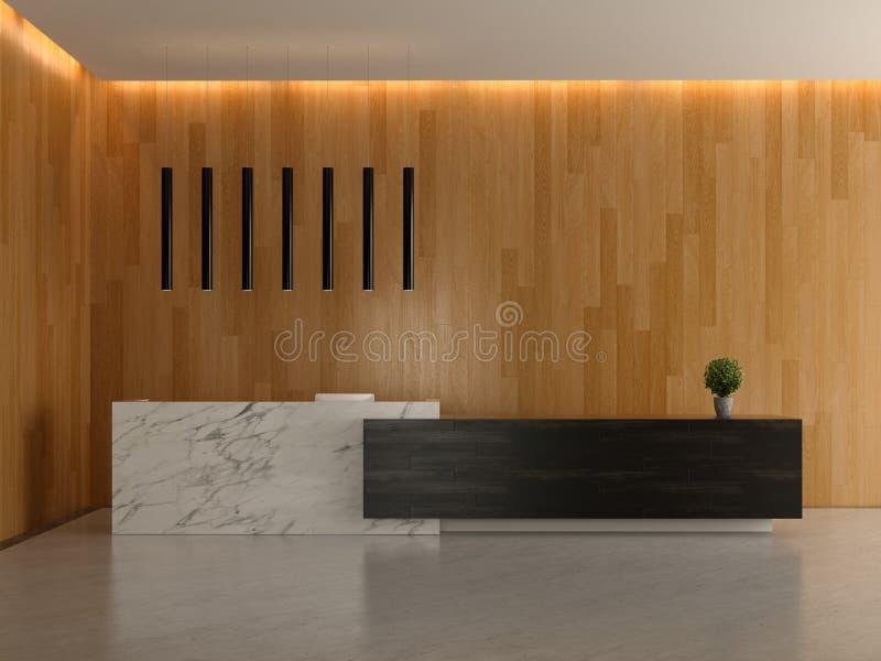 Interior de uma ilustração da recepção 3D do hotel da entrada ilustração royalty free