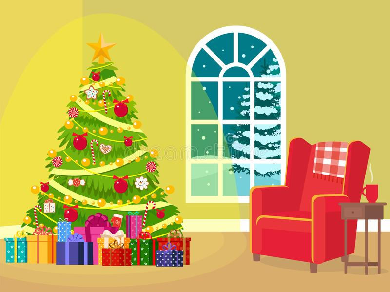 Interior de uma sala do Natal ilustração stock