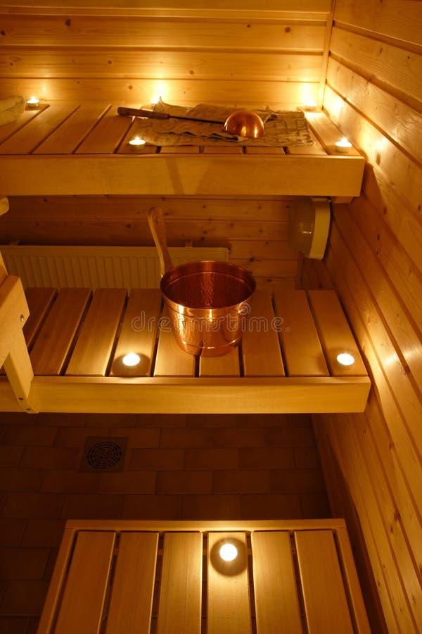 Interior de uma sauna finlandesa fotos de stock royalty free