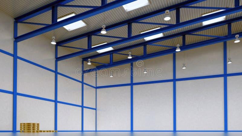 Interior de un almacén vacío con la construcción del color stock de ilustración