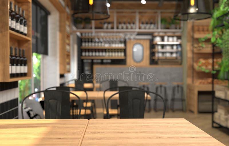Interior de un café con un contador de la barra Fondo y superficie borrosos de la tabla en el primero plano representación 3D con libre illustration