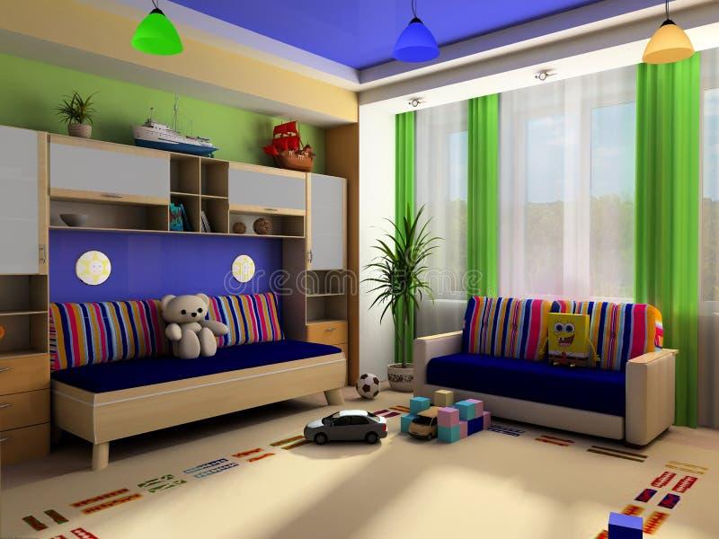 Interior de un cuarto de niños stock de ilustración