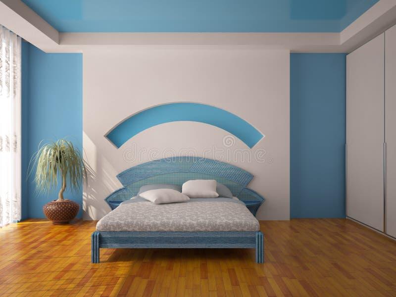 Interior de un dormitorio azul ilustración del vector