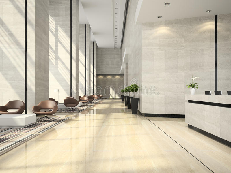 Interior de un ejemplo de la recepción 3D del hotel foto de archivo libre de regalías