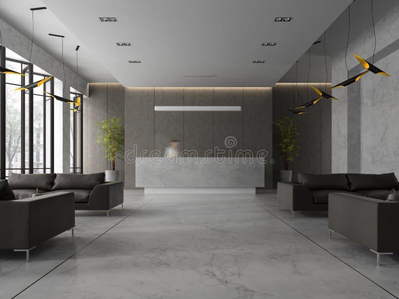 Interior de un ejemplo de la recepción 3D del balneario del hotel stock de ilustración